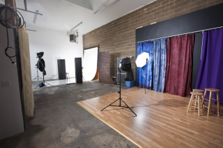 Studio shooting area as seen from main studio entrance