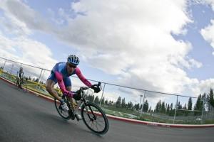 Rider taking turn